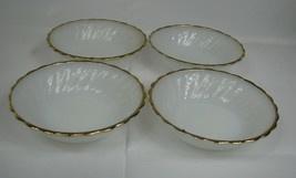 4 PC Vintage Fire King Milk Glass Swirl White WITH GOLD TRIM Berry Bowls - $17.81