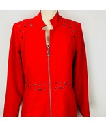 Linea Domani Red Gromet Zip Jacket Long  Blazer Taylored Business Suit Coat - $59.39