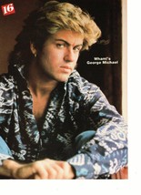 George Michael teen magazine pinup clipping blue shirt earing Vintage 1980's Boo