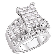 14kt White Gold Princess Diamond Cluster Bridal Wedding Engagement Ring ... - $6,118.00