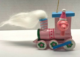 "Pink Wooden Train Engine Christmas Tree Ornament Handpainted Vintage 3"" - $14.95"