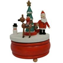 Wondershop Wooden Animated Wind Up Santa Christmas Scene Deer Music Box NEW