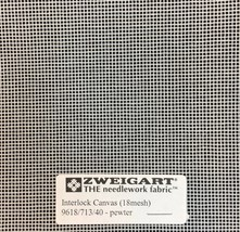 Interlock Needlepoint Canvas 18 Count Pewter Custom Cuts Available Blank Canvas  - $7.13+