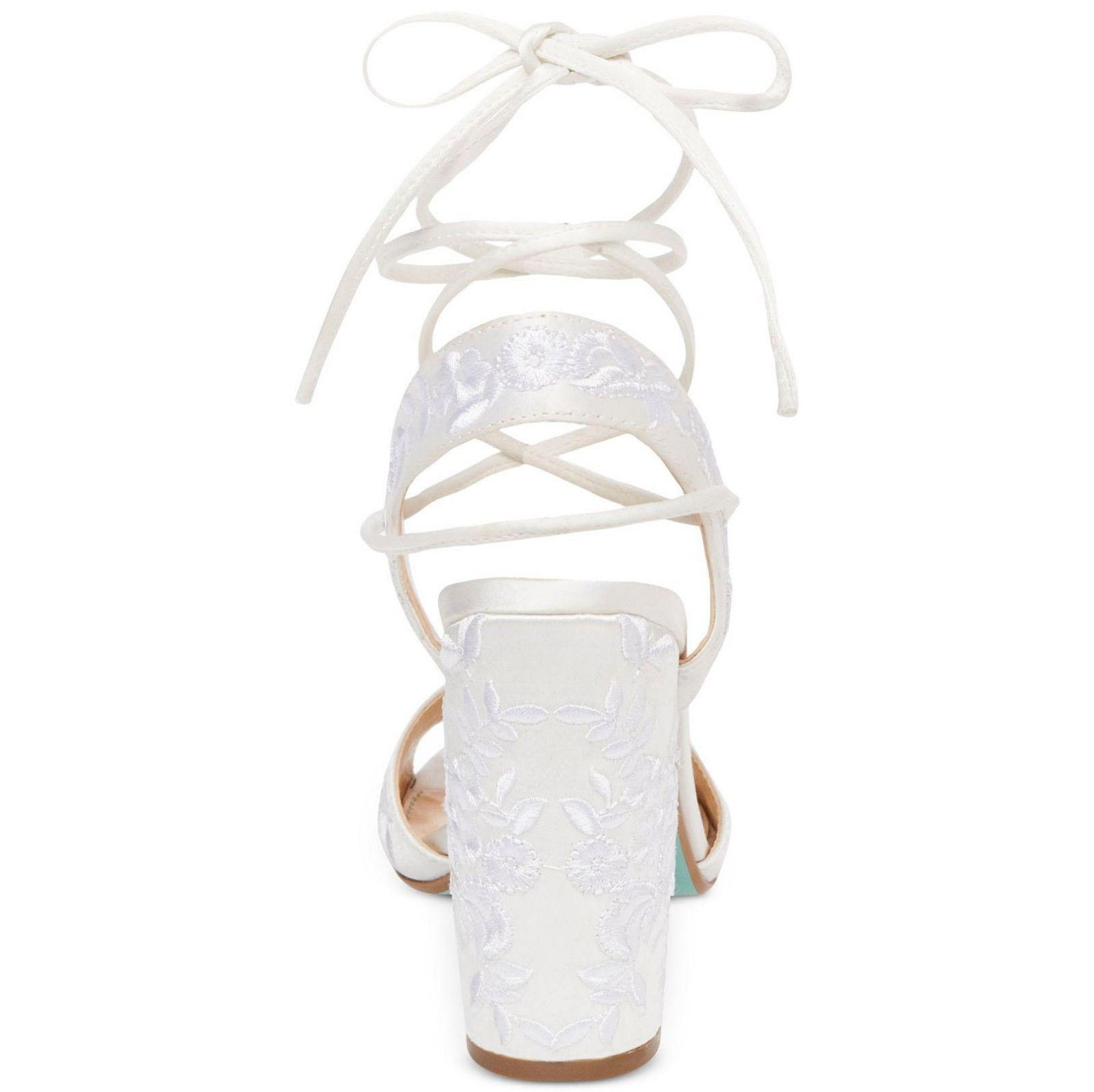 Betsey Johnson Raine Ivory Satin Embroidered Lace Up Wedding Heel Pumps 9.5 NIB