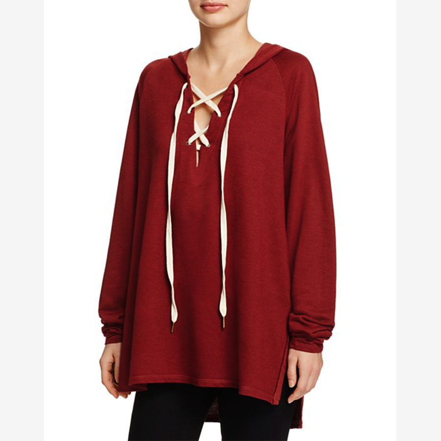 Primary image for Project Social T Bali Lace-Up Pullover Sweater Hoodie, Burgundy, XS