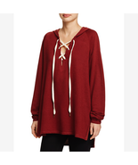 Project Social T Bali Lace-Up Pullover Sweater Hoodie, Burgundy, XS - $12.60