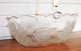 Von Maur Wedding Basket Etched Glass with Handle and Satin Embossed Rose... - $29.99
