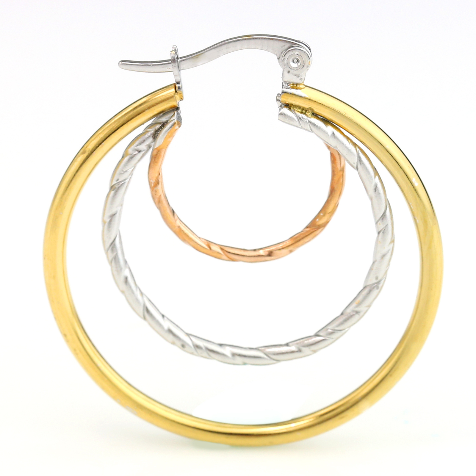 Contemporary Tri-Color Silver, Gold & Rose Tone Hoop Earrings- United Elegance