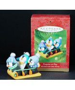 Hallmark Ornament PENGUINS at PLAY Sledding snow sled 2001 New in Box - $57.95