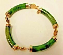 Vintage 8 Inch Long Yellow Gold Tone 4 Jade Tube Link Bracelet - $46.61