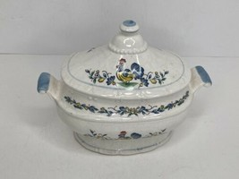Vintage Small Soup Tureen Chicken Rooster NO Ladle Lid Chipped Blue Craz... - $24.74