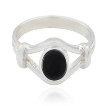 Natural Gemstone Oval Cabochon Black Onyx ring 925 Silver gift for girlf... - $28.84