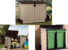 Outdoor Plastic 4x2.5 Ft Storage Shed Horizontal Garden Garage Tool Util... - $239.79