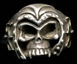 Men Skull Biker Sterling Silver Vintage Gothic Punk Ring w Helmet Size 1... - $85.00