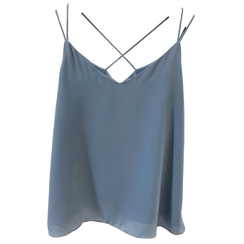 Dusty blue chiffon top