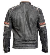 Cafe Racer Retro Men's Vintage Biker Distressed Black Leather Jacket image 2
