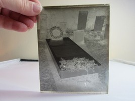 Glass negative photo slide. Black & white. Grave site with stone, flowers - $12.99