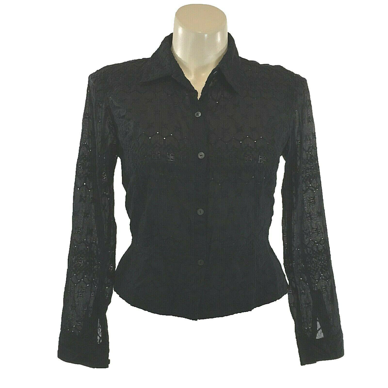 Calvin Klein 14 Large Top Button Shirt Black Eyelet Dot Square Texture Peplum LN