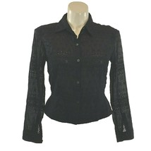 Calvin Klein 14 Large Top Button Shirt Black Eyelet Dot Square Texture P... - $17.95