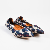 Lanvin NIB Beige Navy Purple Jacquard Leopard Print Pointed Toe Flats SZ 36 - $310.00