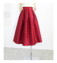 Women Deep Red Party Skirt High Waist Red Pleated Skirt A-line Midi Party Skirts image 6