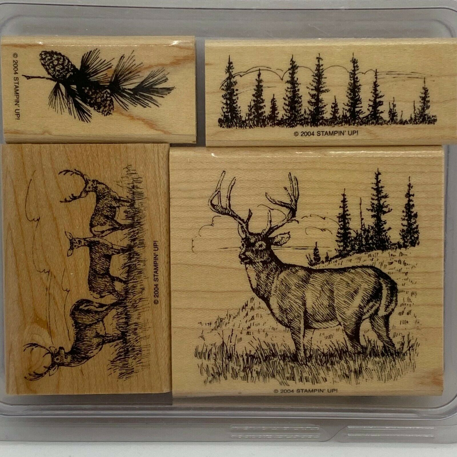 Primary image for Noble Deer Stampin' Up! Rare HTF Wood Mounted Stamp Set