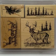 Noble Deer Stampin' Up! Rare HTF Wood Mounted Stamp Set - $43.20