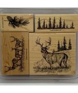 Noble Deer Stampin' Up! Rare HTF Wood Mounted Stamp Set - $43.20