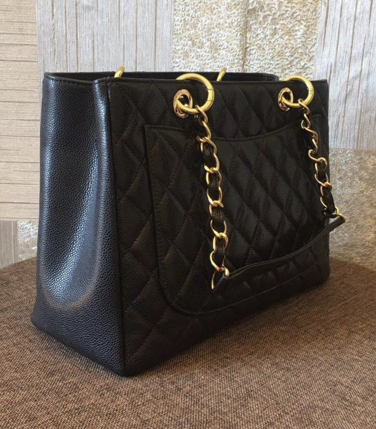 4dbeb6b6ccef AUTHENTIC CHANEL QUILTED CAVIAR GST GRAND SHOPPING TOTE BAG BLACK ...