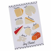 Say Cheese Dish Towel New Provolone Swiss Cheddar Brie Parmesan 100% Cotton - $13.85