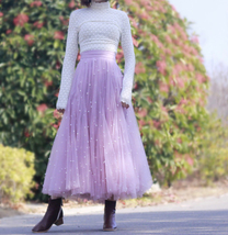 Black Party Skirt Outift  Long Tulle Skirt Plus Size Black Tutu Skirt Pearl deco image 3