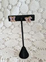 Ladies Gold Tone Purple Butterfly Amethyst Rhinestone Screwback Earrings   - $2.90