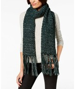 Steve Madden Shimmer-Knit Tassel Scarf (Green, 9-1/2″ x 78″) - $26.22