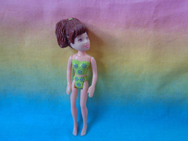 Polly Pocket Mattel Girl Figure Large Brown Pony Tail Green / Purple Undies - $1.93