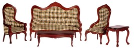 Dollhouse Miniature Victorian Living Room Set, 5 pc, Plaid #T3392 - $68.20