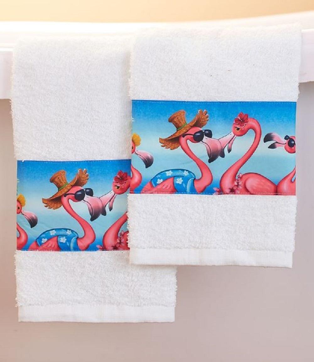 Tropical Flamingo Hand Towels Beachy Pink Flamingos Set of 2 Bath Bathroom Decor