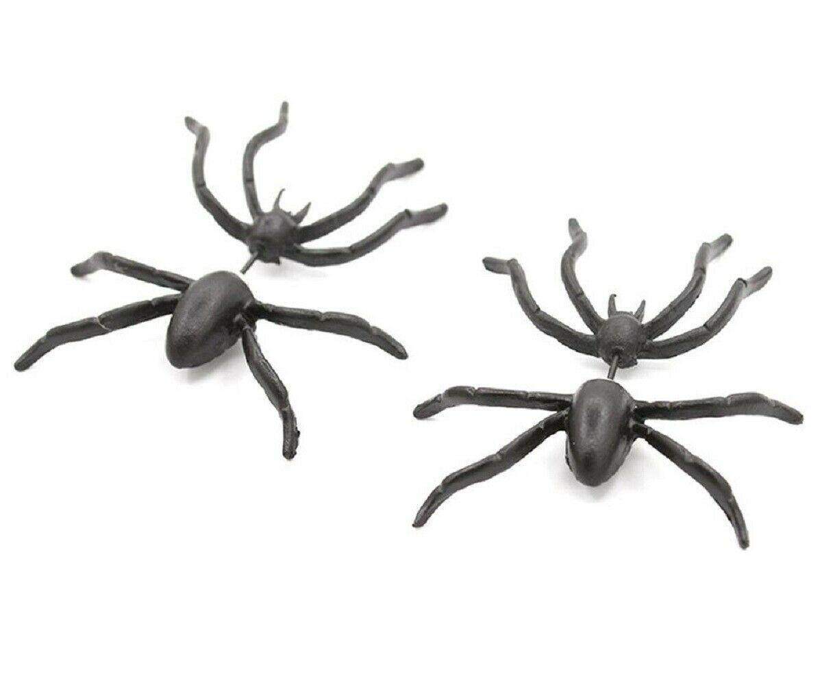 Women Halloween Black Spider Charm Ear Stud Earrings - One Pair