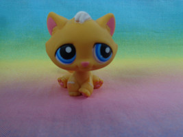 Littlest Pet Shop Orange Striped Tabby Kitty Cat #349 Deep Blue Eyes  - $5.32