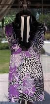Neat Stretchy Knit Ruffle Neckline Animal Print Sleeveless Shirt Sz. 1X ... - $36.62