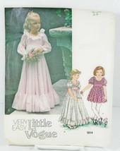 Little Vogue 1814 Sewing Pattern Flower Girl Princess Dress Up Short Lon... - $16.00