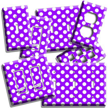 Purple Polka Dots Light Switch Outlet Plates Infant Baby Nursery Room Home Decor - $9.99+