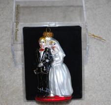 "Bride & Groom Wedding Hand Crafted Glass Christmas Ornament 4"" Target Da... - $14.80"