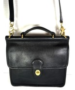 Coach Vintage Willis Smooth Black Leather Shoulder Bag Brass HW Made in USA - $122.21