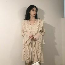 Vintage Temperamental Commuter Flare Full Sleeve Knee Length V Neck Female Dress - $41.99
