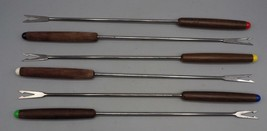 Vintage Lot of 6 Wood Handle Cheese Fondue Fork - $11.87