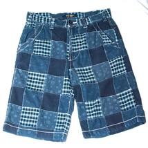 ZARA Youth Retro Classic Plaid/Patchwork/Quilt Blue Bermuda Shorts Sz30 GUC - $18.69