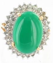 VINTAGE BIG! FOREST GREEN FAUX CHRYSOPRASE FAUX DIAMONDS OVALCOCKTAIL RI... - $87.74