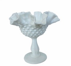 "Fenton Milk Art Glass Hobnail Vase milk glass 6"" vtg antique candy dish ... - $84.15"