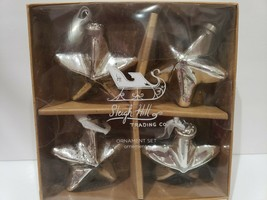 "Sleigh Hill Trading Christmas Mercury Glass Star Ornaments 3"" Set of 4 NEW - $32.99"