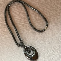 Estate Hematite Barrel & Round Bead with Open Oval Pendant Necklace – 18... - $13.99